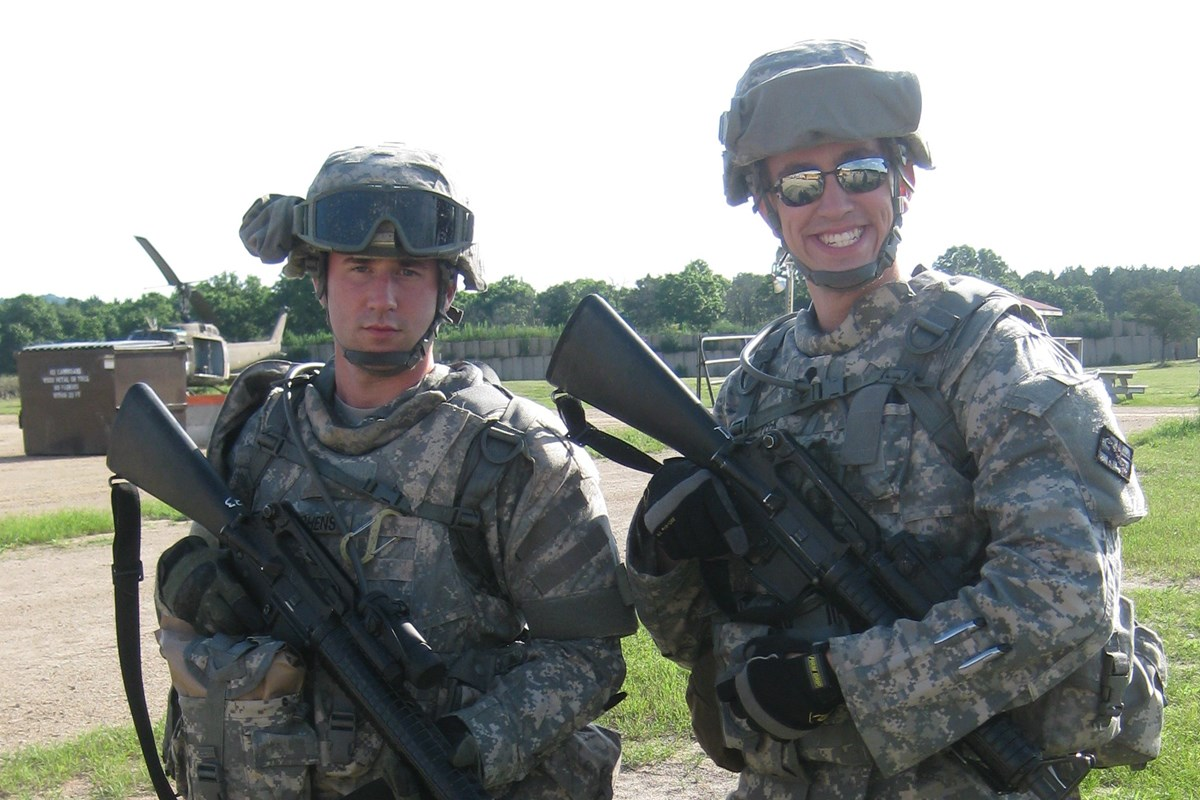 Doug, a U.S. Army Veteran, pictured with a roommate from his tour in Iraq
